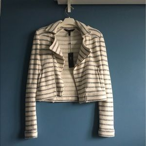 NWT bcbgmaxazria striped cropped jacket